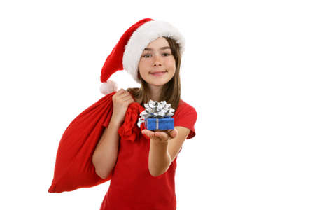 disguised: Girl disguised as Santa Claus on white background