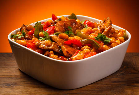 stew pan: Roasted meat stew and vegetables