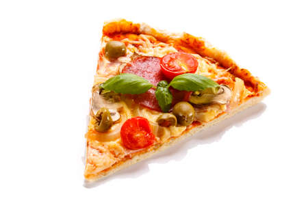 Pepperoni pizza slice on white background Stok Fotoğraf - 30406007