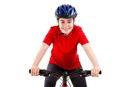 sporting activity: Close up of boy riding a bike on white background