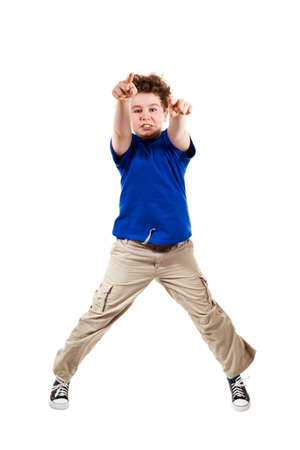 determined: Boy pointing on white background