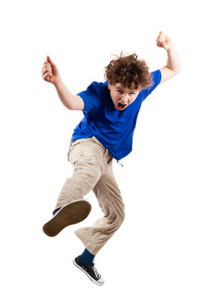 raged: Angry boy jumping on white background