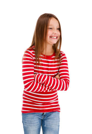 cross arms: Girl laughing with arms crossed on white background Stock Photo