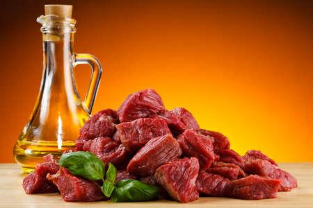Chopped raw beef on cutting board Reklamní fotografie