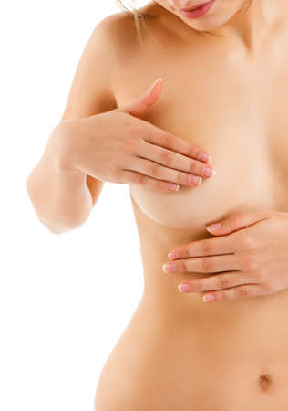 breast examination: Woman examining her breast on white background