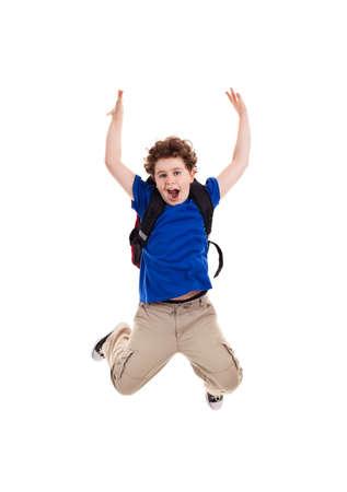 mochila escolar: Chico saltando en el fondo blanco