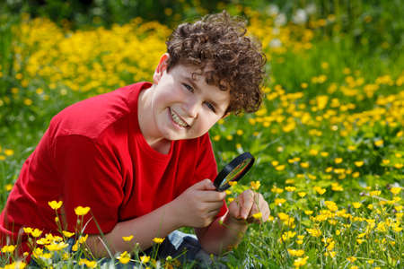 inspector kid: Boy looking at flowers through magnifier Stock Photo
