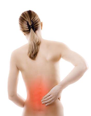 mujer desnuda de espalda: Mujer con dolor de espalda