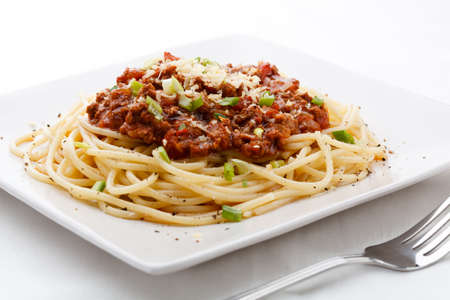 grated: Spaghetti with minced meat sauce Stock Photo