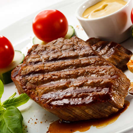 meat dish: Grilled steak and vegetables