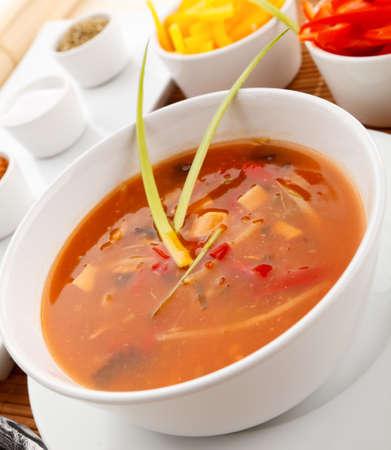 Close up of tomato soup photo