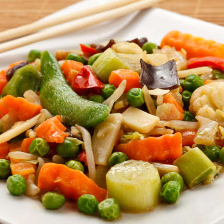 lowfat: Stir-fried vegetables Stock Photo