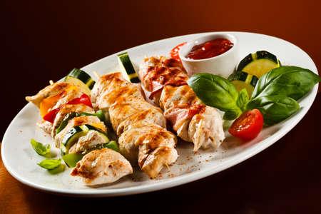 chicken kebab: Chicken kebab and vegetables Stock Photo