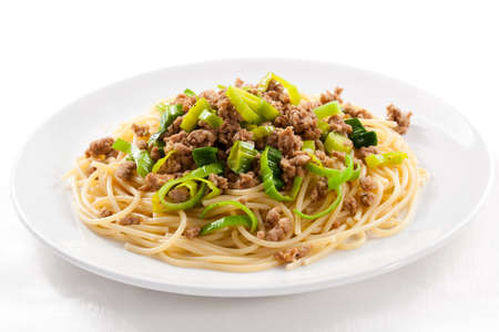 Pasta with minced meat and vegetables photo