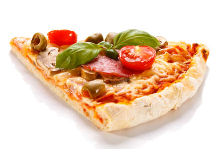 Pizza on white background Banco de Imagens