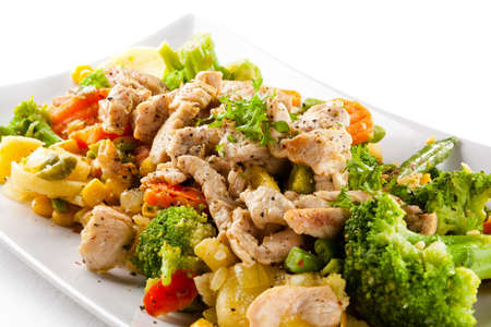 broccoli salad: Stir-fried chicken and vegetables