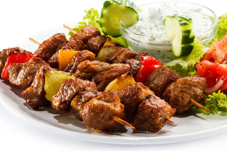 meat dish: Grilled skewers on a plate