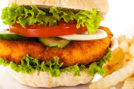 Close up of a hamburger