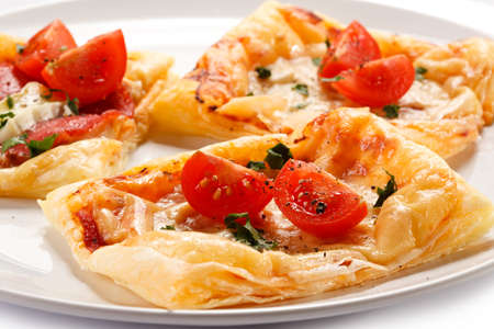 cream puff: Close up of delicious pizza pastry
