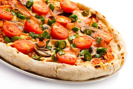 cuisines: Close up of delicious pizza on white background