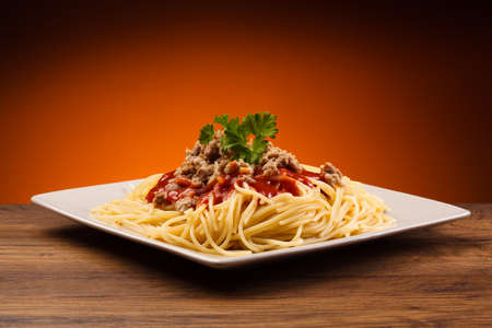 Close up of spaghetti bolognese Standard-Bild