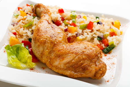 Top view of fried chicken with fried rice Stock Photo