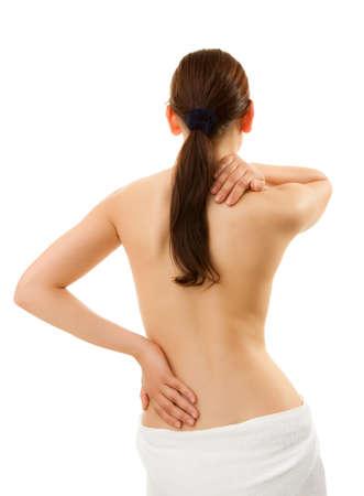 Woman having shoulder and backache Stock Photo