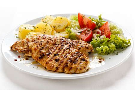 chicken grill: Grilled chicken with boiled potatoes and salad