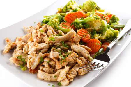 stir up: Close up of stir fried meat in a plate Stock Photo