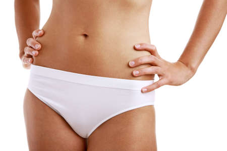 midsection: Woman in undergarment Stock Photo