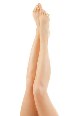 waxed legs: Beautiful legs isolated on a white background