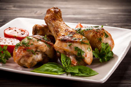 prepared: Grilled chicken legs and vegetables