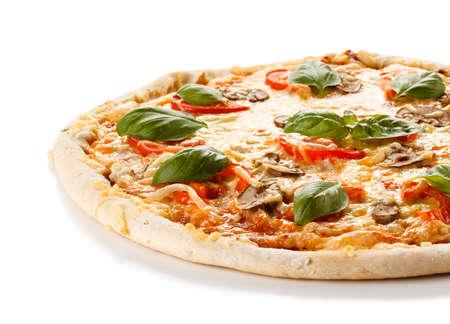 Pizza en el fondo blanco Foto de archivo - 41329619