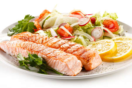 salmons: Grilled salmon and vegetables Stock Photo
