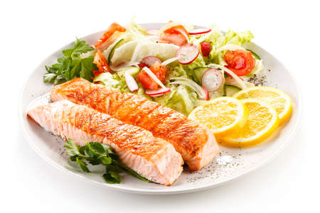 Grilled salmon and vegetables Stockfoto