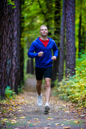 one young man: Healthy lifestyle - young man running
