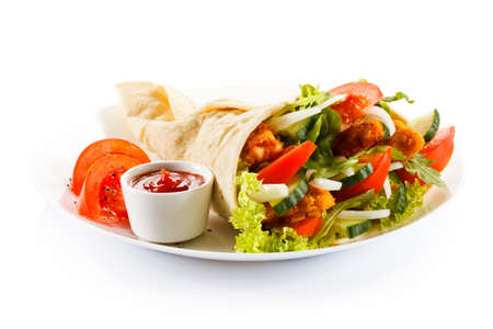 burrito: Kebab - grilled meat and vegetables Stock Photo