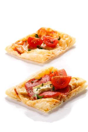 mini pizza: Mini pizza on a white background