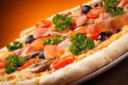 champignons: pizza Stock Photo