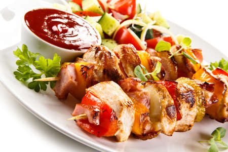 meat food: Kebabs - grilled meat and vegetables