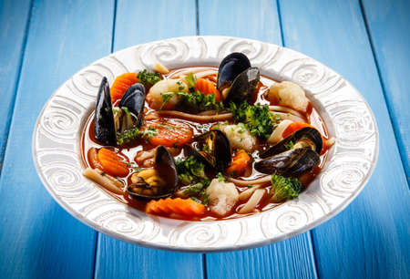 mussels: Mussels soup