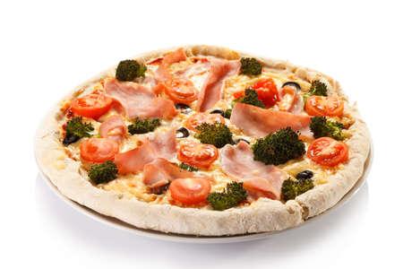 Pizza on white background Stockfoto