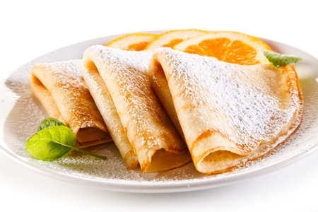 Crepes on white background