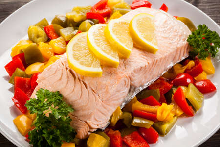 fish plate: Roasted salmon and vegetables