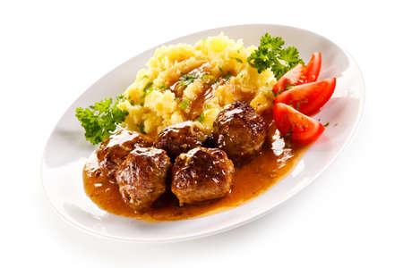 PURE: Albóndigas al horno, puré de patatas y verduras