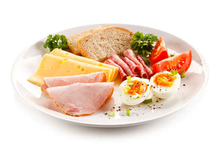 white cheese: Breakfast - boiled egg, ham, cheese and vegetables