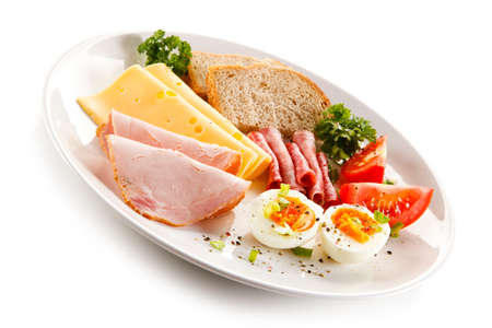 ham cheese: Breakfast - boiled egg, ham, cheese and vegetables