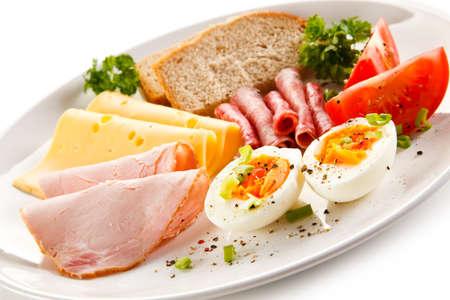 boiled egg: Breakfast - boiled egg, ham, cheese and vegetables