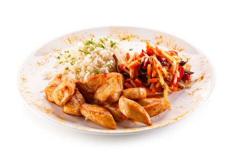 white rice: Chicken nuggets, white rice and vegetables