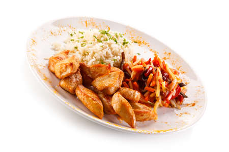 nuggets: Chicken nuggets, white rice and vegetables